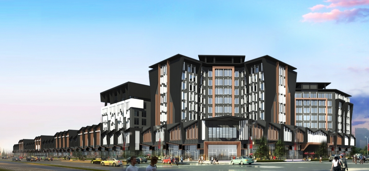 Retail street development facade design xinjiang kris for Hotel design facade